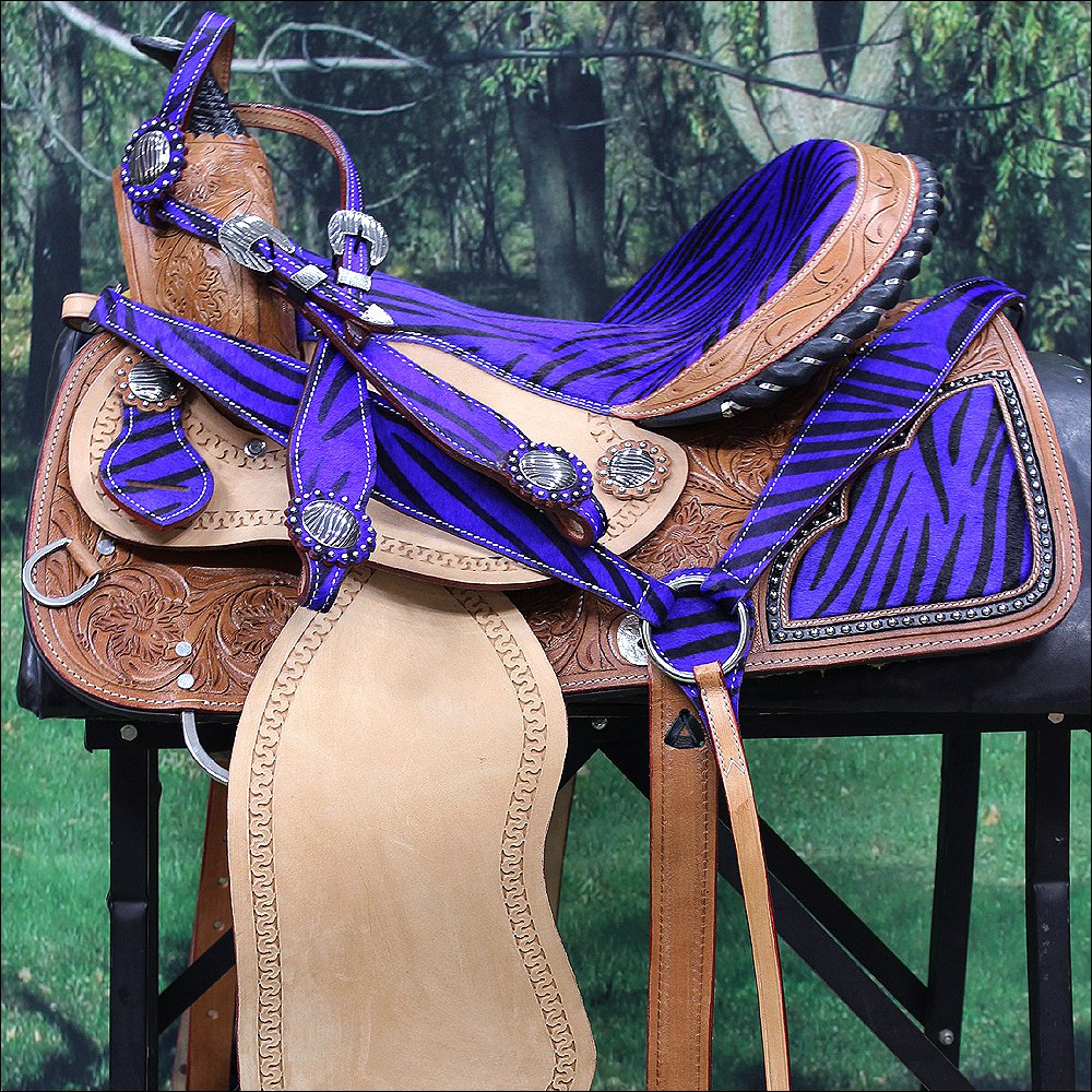 "OS103-F WESTERN BARREL RACING TRAIL SADDLE 15"" WITH HEADSTALL & BREAST COLLAR"