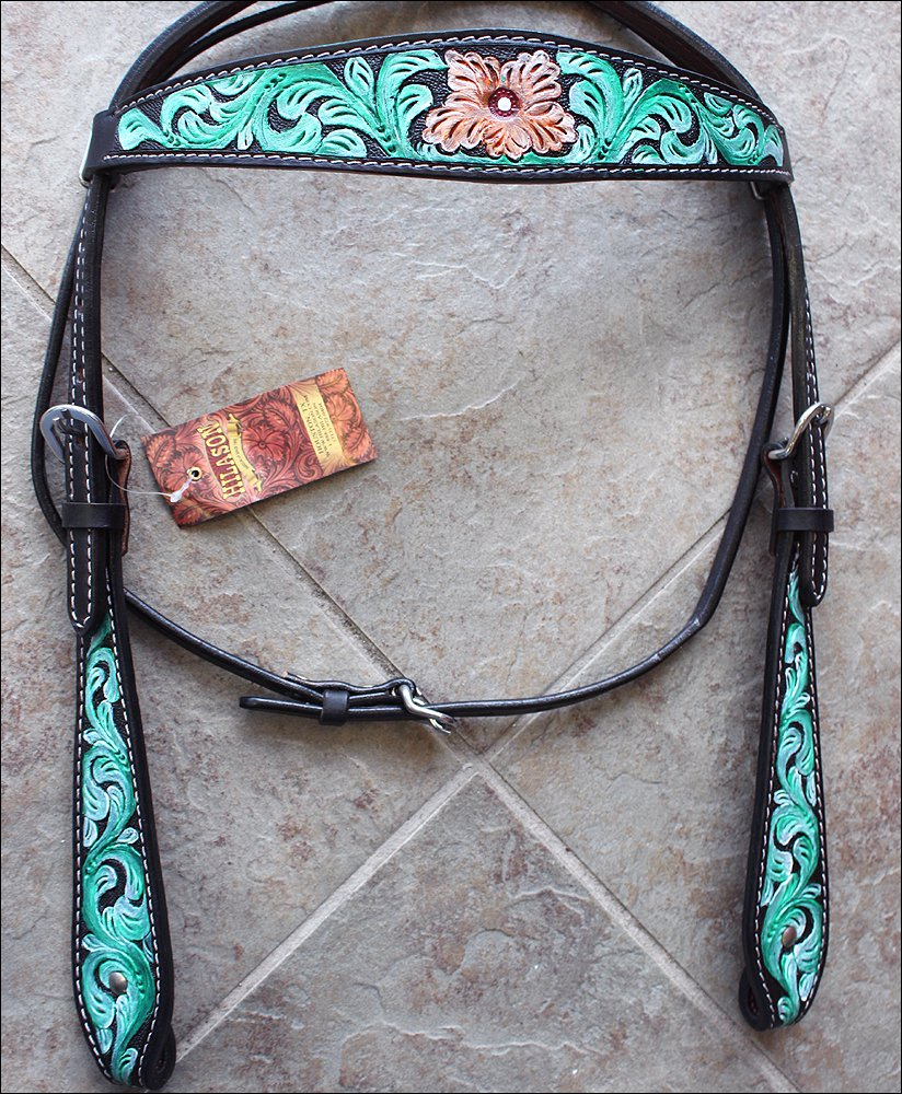 HILASON WESTERN LEATHER HORSE BRIDLE HEADSTALL GREEN HAND PAINT FLORAL