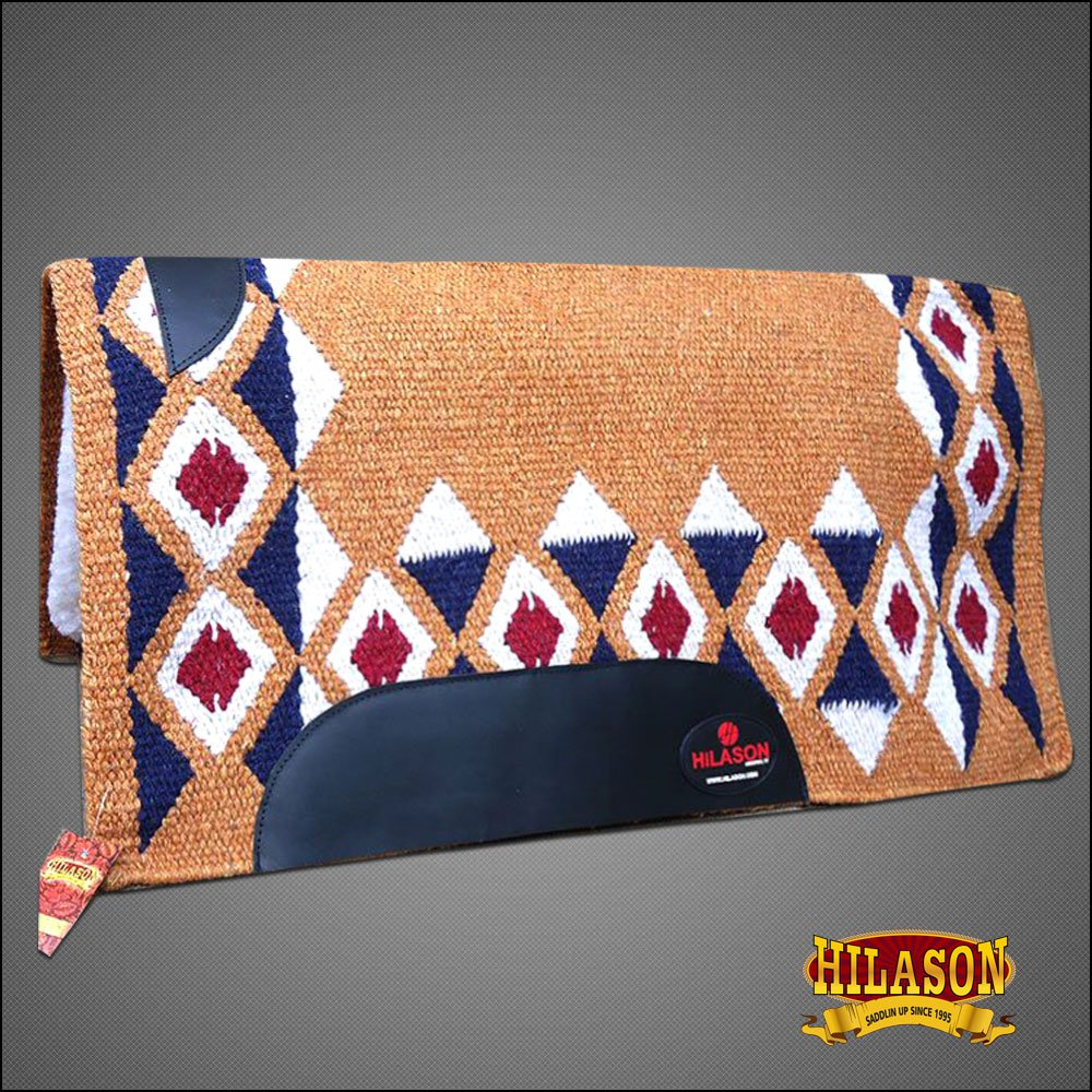 FEP209 MADE IN USA HILASON WESTERN WOOL SHOCK BUSTER SADDLE BLANKET PAD RUST