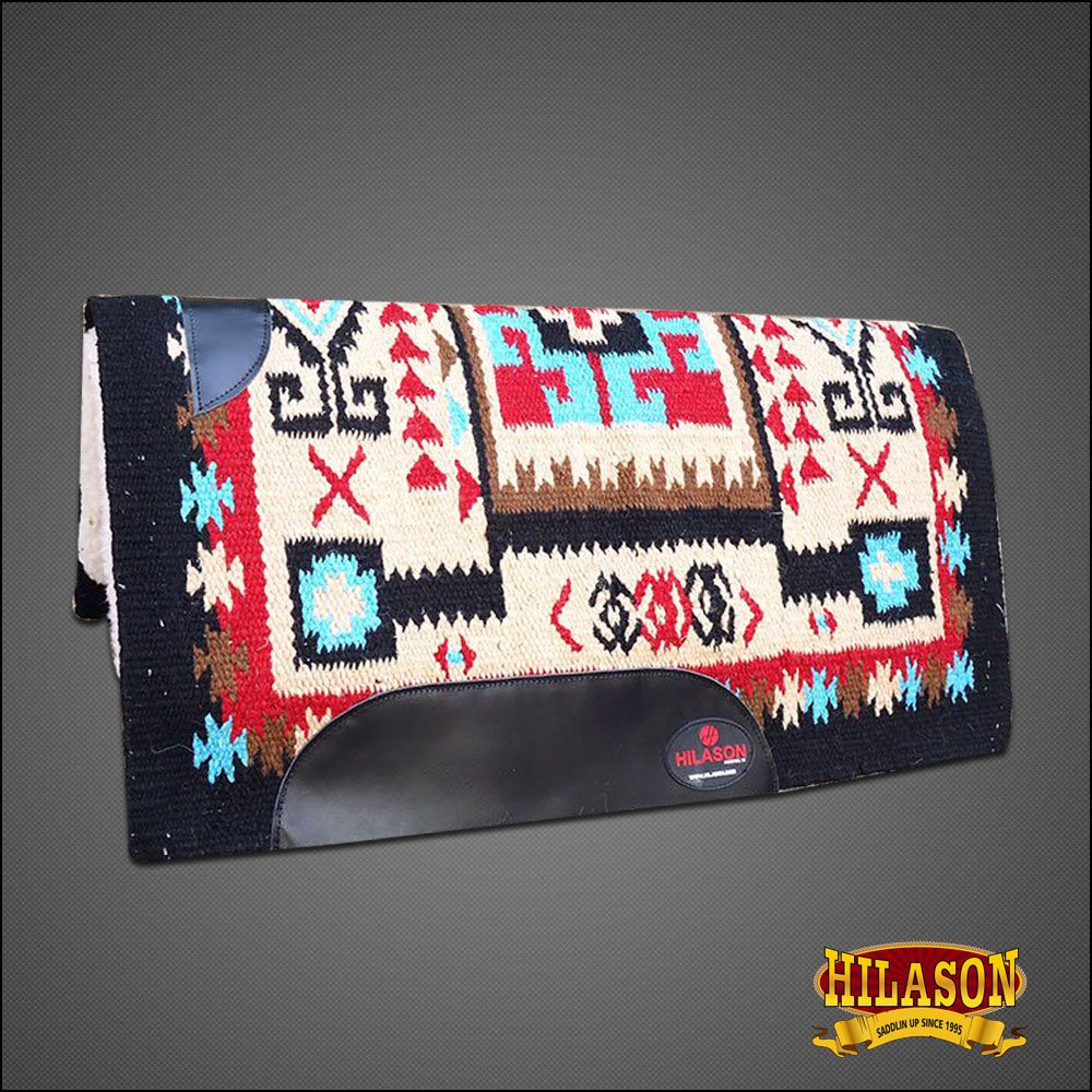 MADE IN USA FE160-F HILASON WESTERN WOOL GEL SADDLE BLANKET PAD BEIGE BLACK