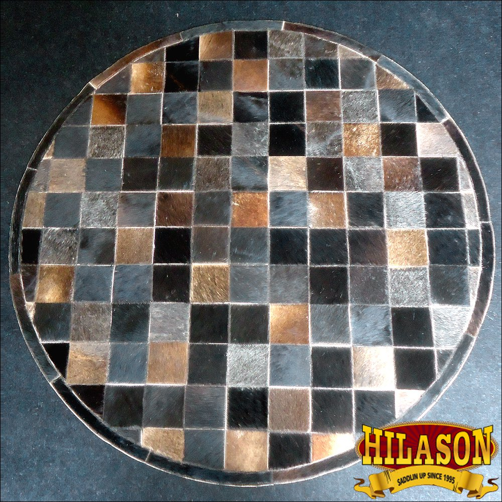 HR135-F HILASON HOME DECOR COWHIIDE HAIR ON LEATHER PATCHWORK ROUND RUGS CARPET