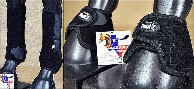 MEDIUM TOUGH1 FRONT LEG VENTED HORSE SPLINT SPORTS BELL BOOTS BLACK