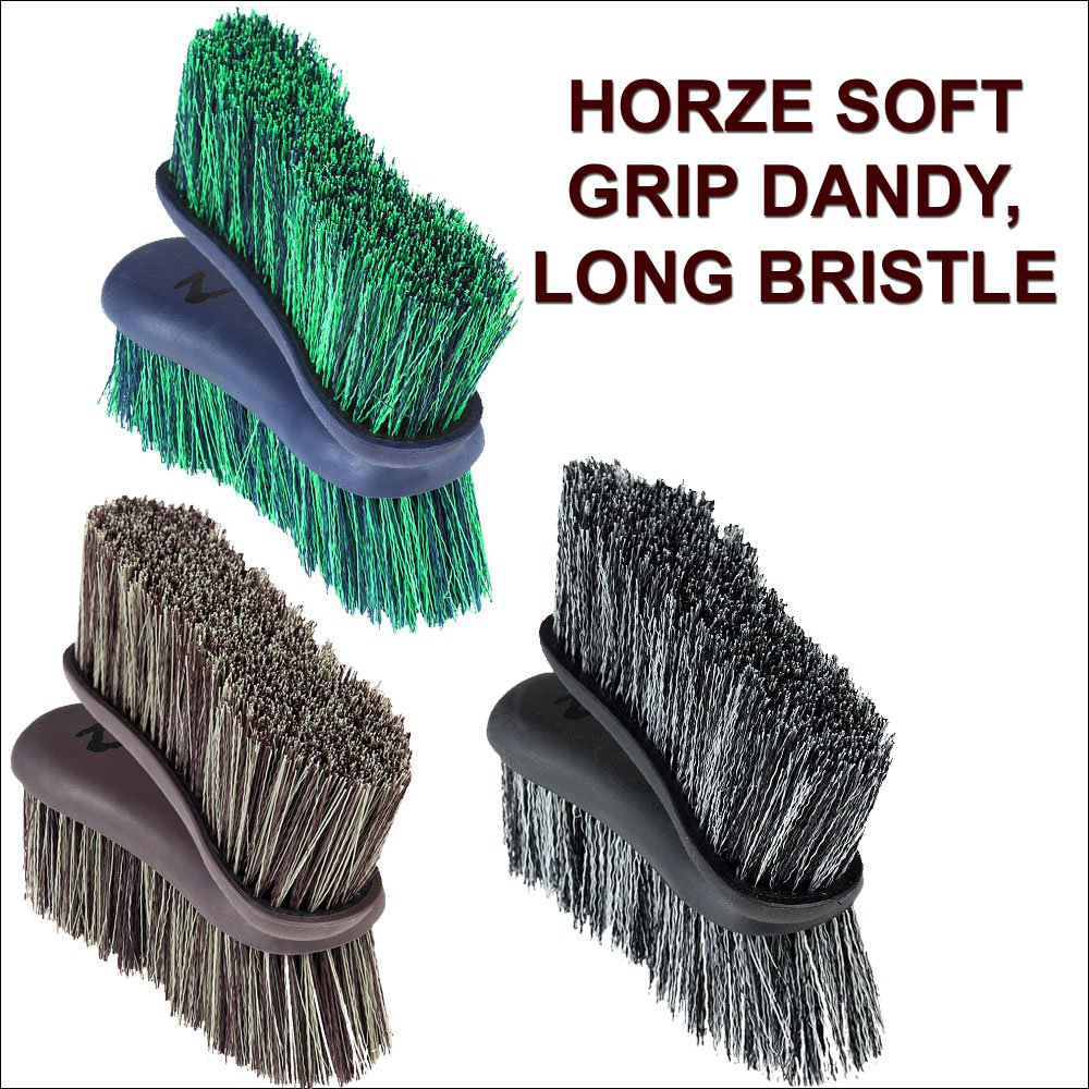 HORZE WESTERN HORSE SOFT GRIP DANDY BRUSH LONG BRISTLE