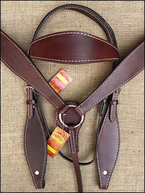 HILASON WESTERN LEATHER HORSE BRIDLE HEADSTALL BREAST COLLAR - DARK BROWN