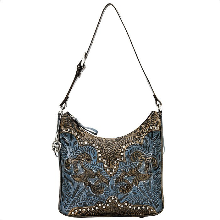 AW915 AMERICAN WEST CHARCOAL BROWN LEATHER LADIES SHOULDER HANDBAG PURSE