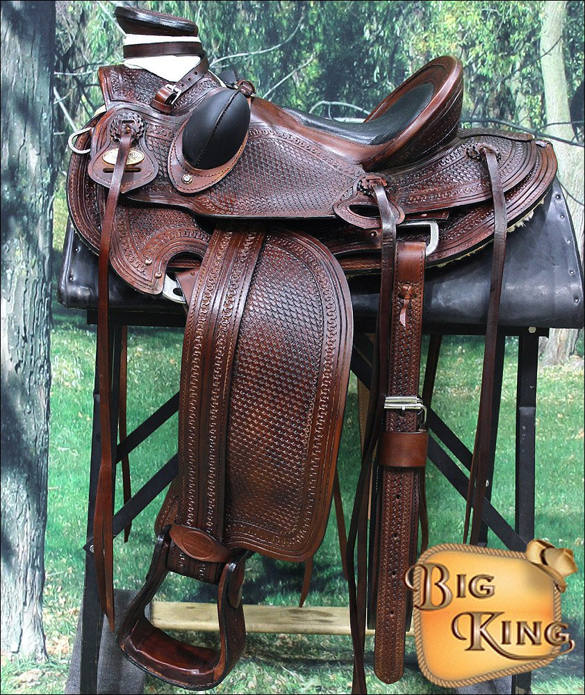 087A HILASON BIG KING SERIES WESTERN WADE RANCH ROPING COWBOY HORSE SADDLE 15 16