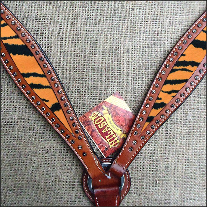 HILASON WESTERN LEATHER HORSE BREAST COLLAR MAHOGANY W/ TIGER INLAY