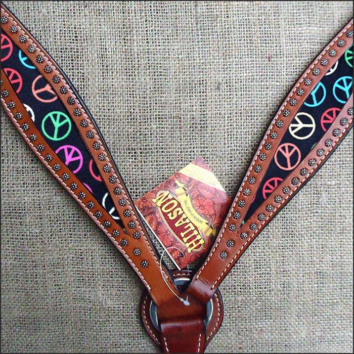 HILASON WESTERN LEATHER HORSE BREAST COLLAR MAHOGANY W/ PEACE SIGN INLAY
