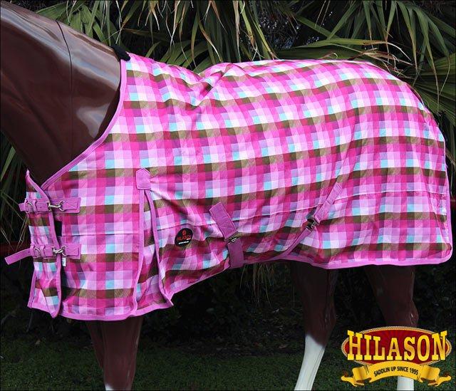 "80"" MAGENTA PLAID HILASON 1200D WINTER WATERPROOF POLY TURNOUT HORSE BLANKET"