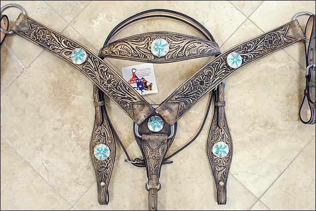 HILASON RUSTIC VINTAGE LEATHER HORSE HEADSTALL BREAST COLLAR TURQUOISE CONCHO