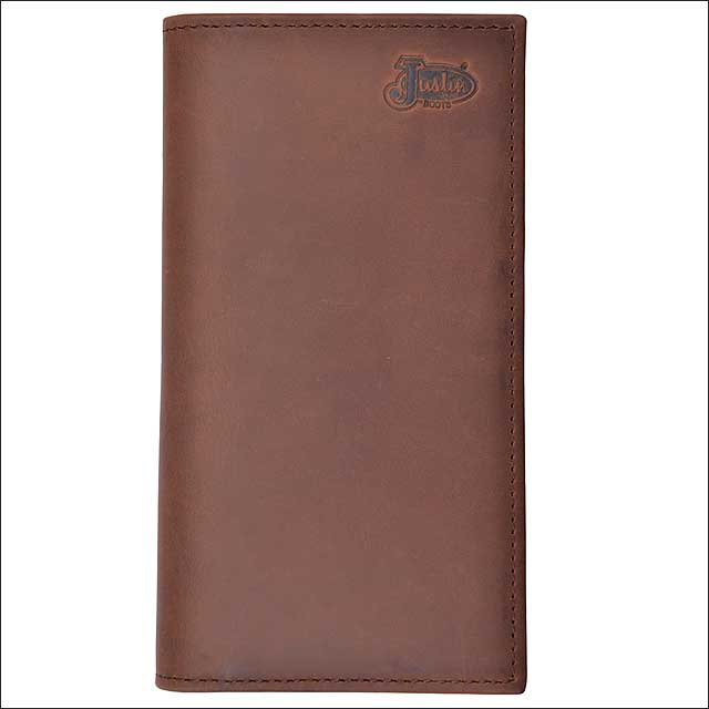 JUSTIN BROWN TAN DISTRESSED LEATHER BASIC RODEO MENS WALLET W/ 5 CARD SLOTS