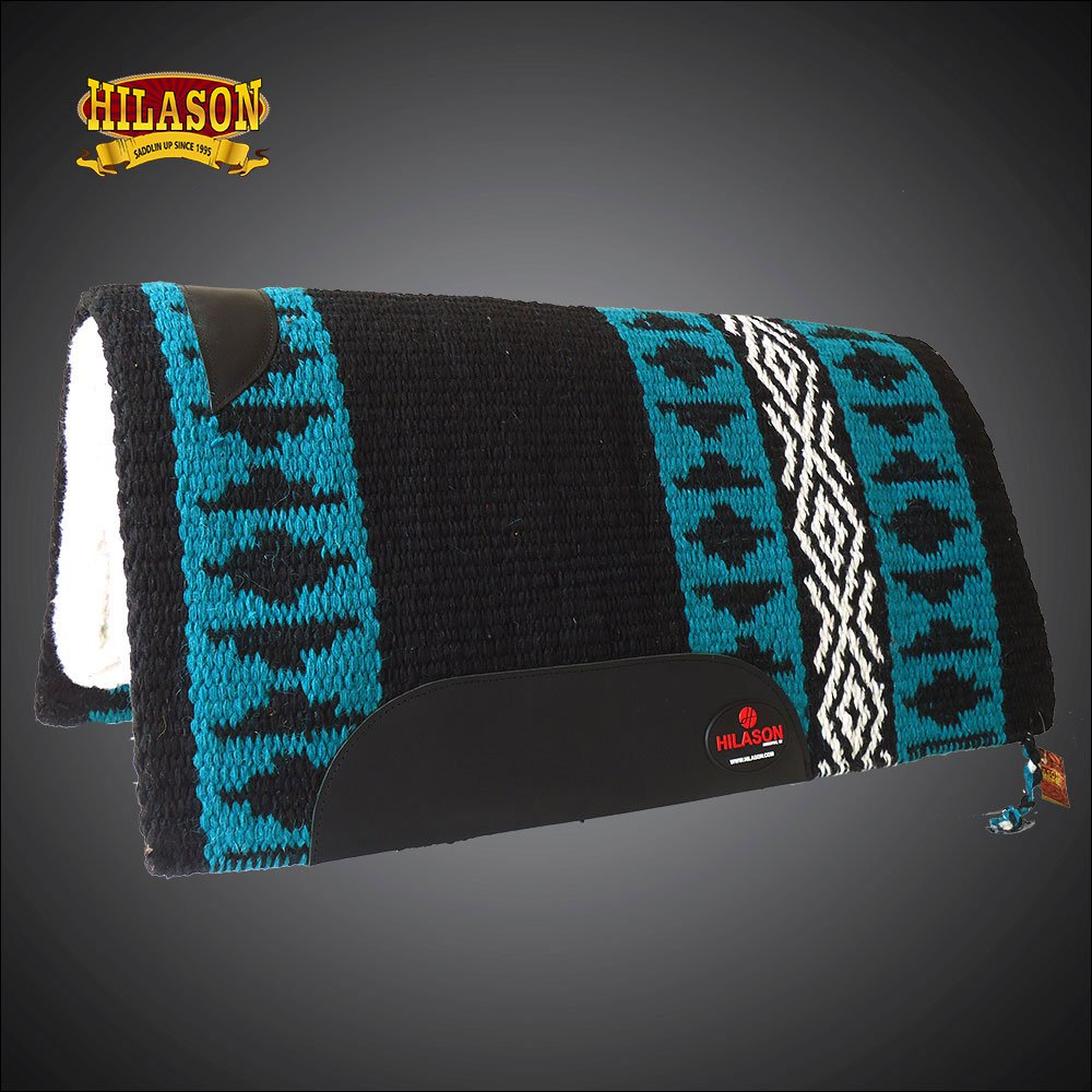 MADE IN USA FE323-F HILASON WESTERN WOOL GEL SADDLE BLANKET PAD BLACK TERQUOISE