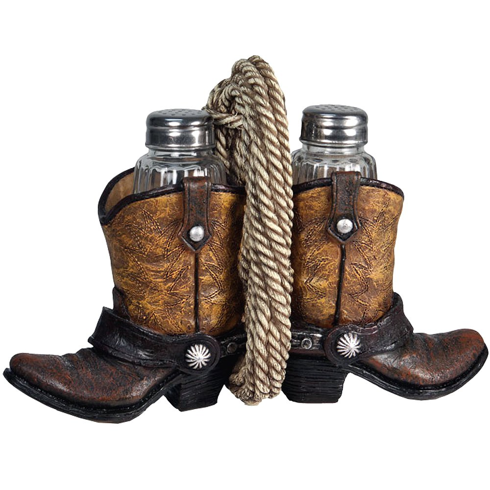 RIVERS EDGE COWBOY HOME D�COR HAND PAINTED BOOT W/ GLASS SHAKER S&P