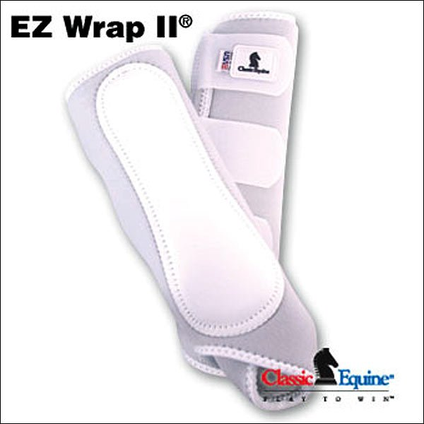 WHITE CLASSIC EQUINE EZ Wrap II Front LEG BOOTS VELCRO W/ LEATHER GUARD