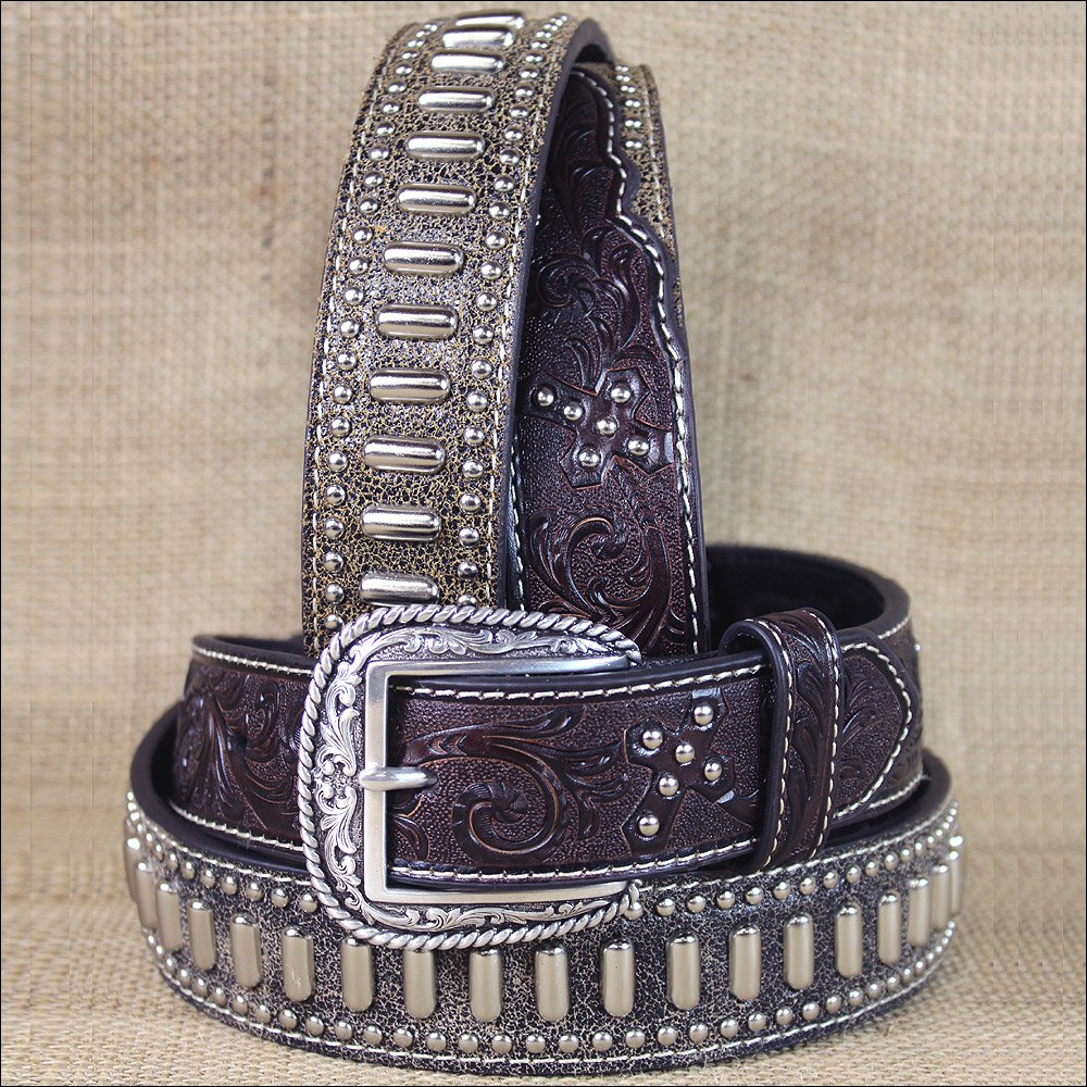 WESTERN ARIAT TOOLED CROSS STUDS CONCHO LEATHER BROWN MENS BELT 32-46 inches