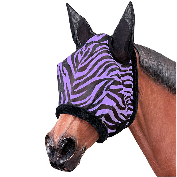 TOUGH-1 PURPLE ZEBRA PATTERN MESH HORSE FLY MASK WESTERN TACK