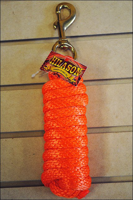 ORANGE HILASON WESTERN TACK HORSE POLY SOFT LEAD ROPES W/ BRASS PLATED SNAP