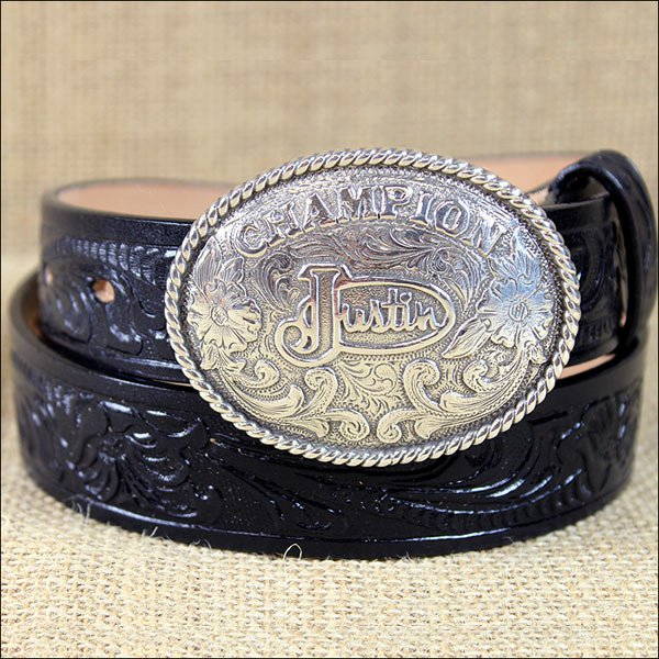 811BK 24 inch JUSTIN BLACK TOOL LEATHER CHILDREN'S BELT WITH CHAMPION BUCKLE