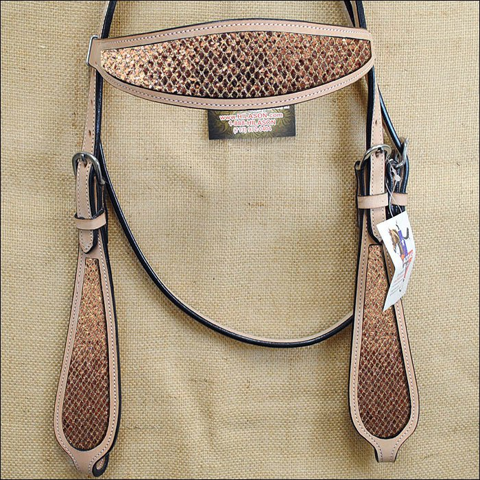 HILASON WESTERN LEATHER HORSE HEADSTALL BRIDLE TAN GOLD INLAY