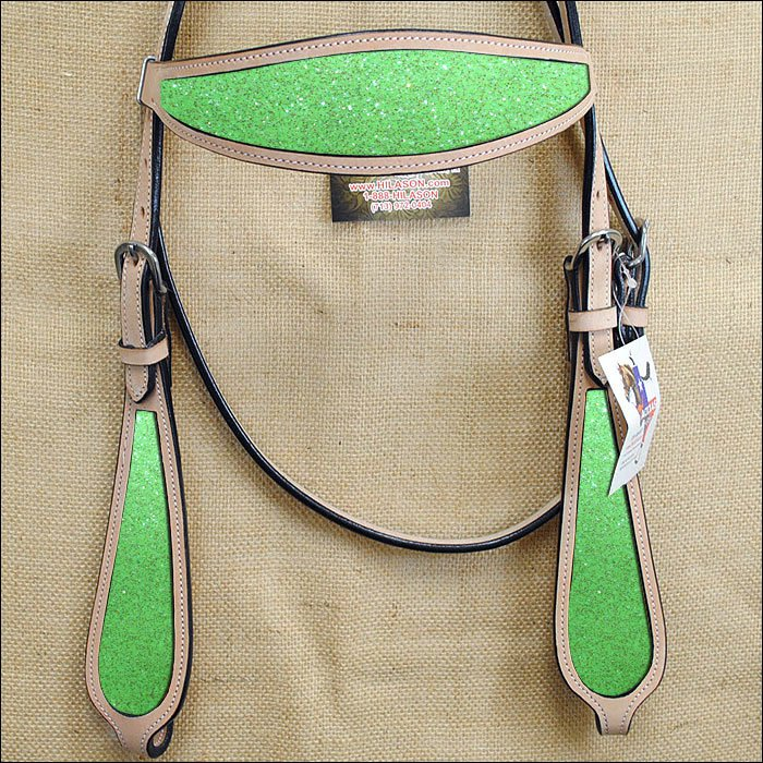 HILASON WESTERN LEATHER HORSE HEADSTALL BRIDLE TAN LIME GREEN INLAY