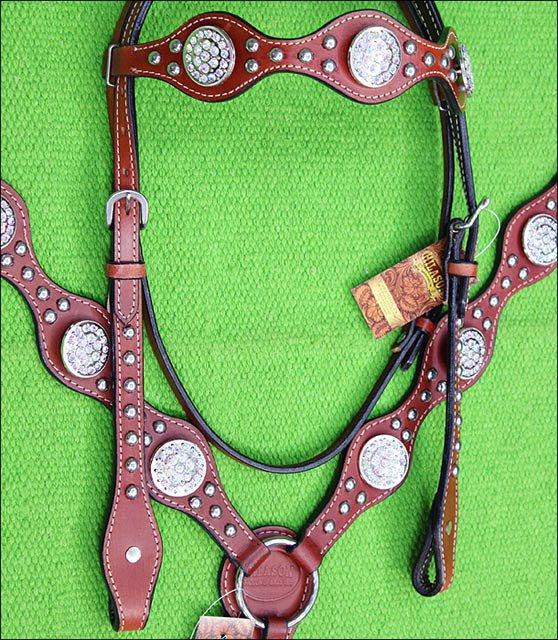 HILASON WESTERN MAHOGANY LEATHER HORSE HEADSTALL BREAST COLLAR W/ CONCHO