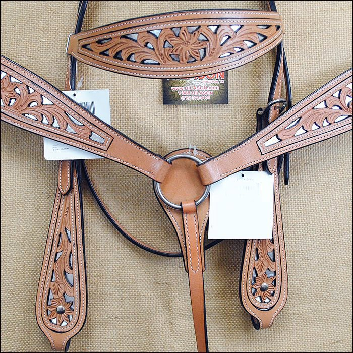 HILASON WESTERN LEATHER HORSE HEADSTALL BREAST COLLAR TAN / BROWN / BLACK CONCHO