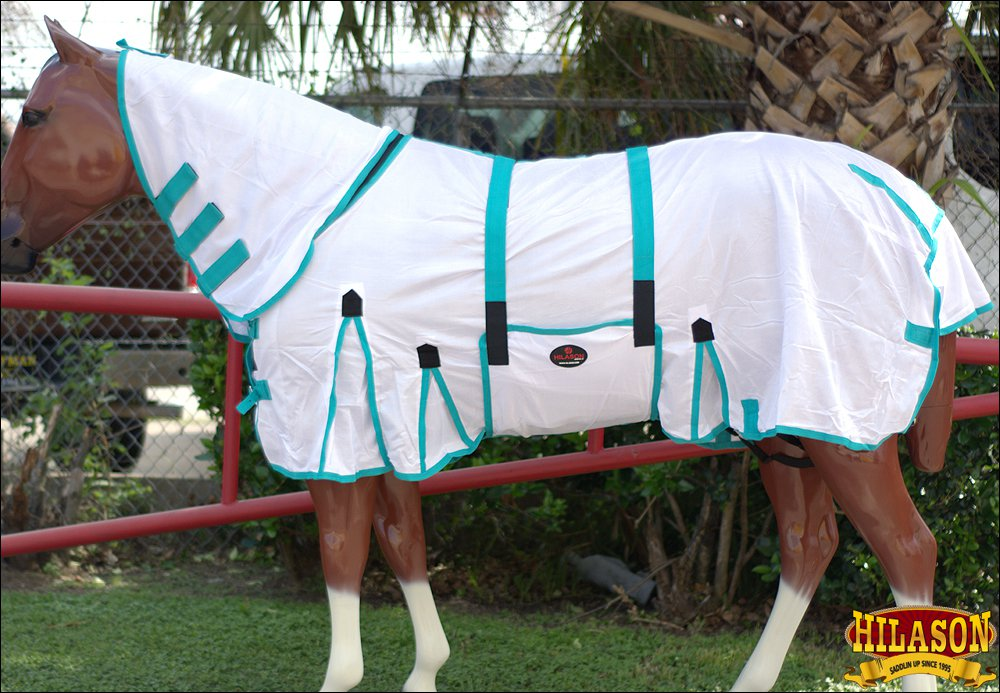 """75"""" HILASON POLY AIRFLOW MESH HORSE FLY SHEET W/ NECK COVER & BELLY WRAP WHITE"""