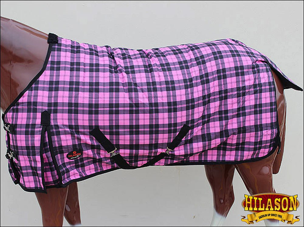 HILASON HORSE WINTER BLANKET 1200D PINK RIPSTOP WATERPROOF POLY TURNOUT TOUGH