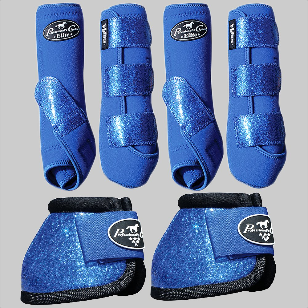 LARGE PROFESSIONAL CHOICE SPORTS HORSE BOOTS BELL VENTECH ELITE GLITTER ROYAL