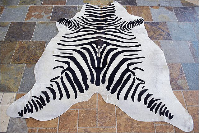 HS907F- HILASON ZEBRA STENCIL PURE BRAZILIAN HAIR ON FULL COWHIDE LEATHER RUG