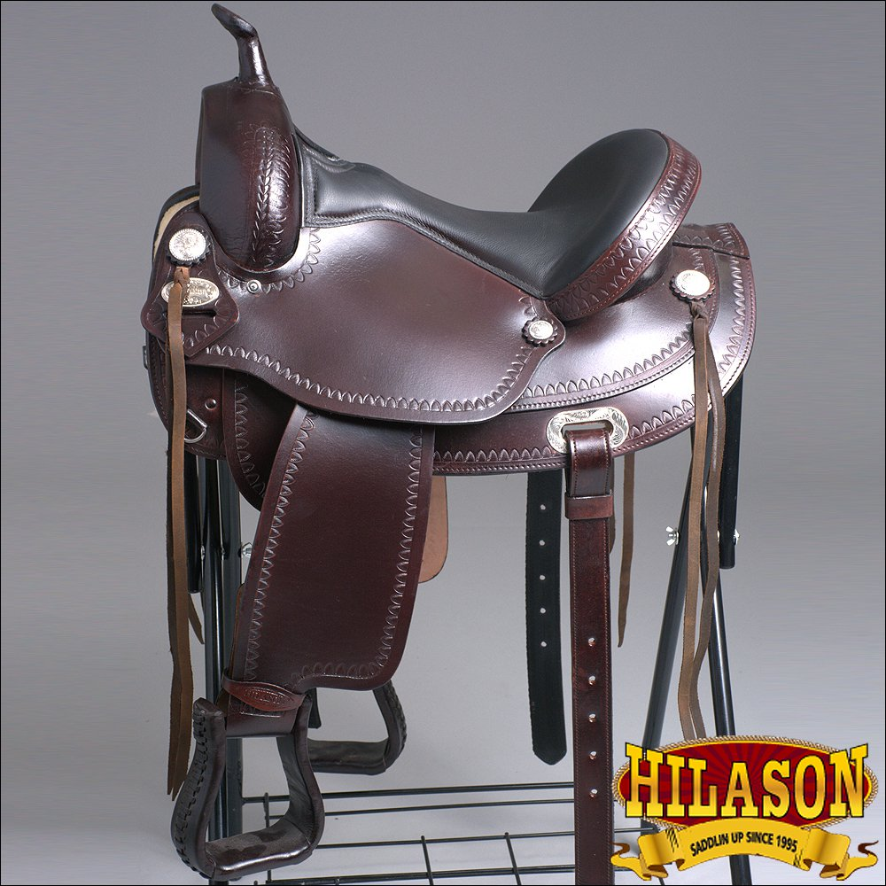 TT102 HILASON FLEX-TREE TRAIL PLEASURE ENDURANCE WESTERN LEATHER HORSE SADDLE 15