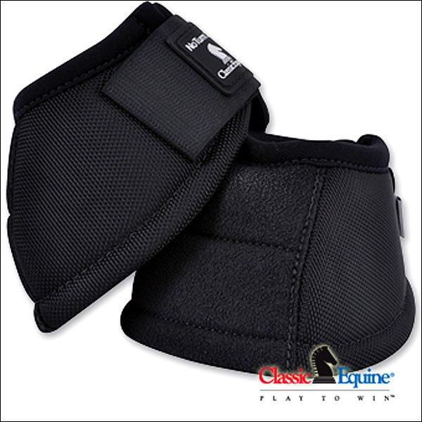 LARGE BLACK CLASSIC EQUINE HORSE KEVLAR NO TURN BELL BOOT