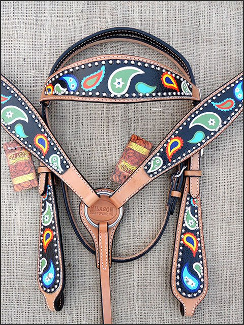 HILASON WESTERN LEATHER HORSE BRIDLE HEADSTALL BREAST COLLAR HAND PAINT PAISLEY