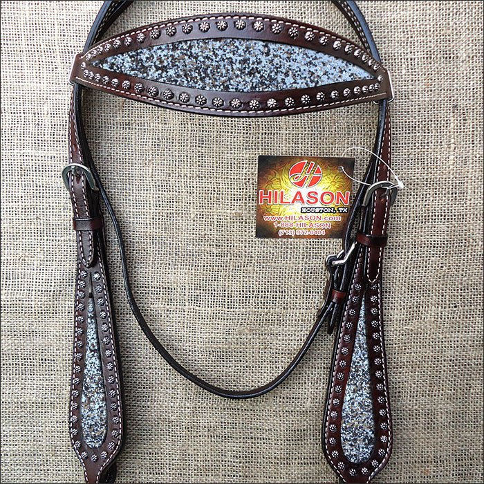 HILASON WESTERN LEATHER HORSE BRIDE HEADSTALL BROWN W/ SILVER INLAY