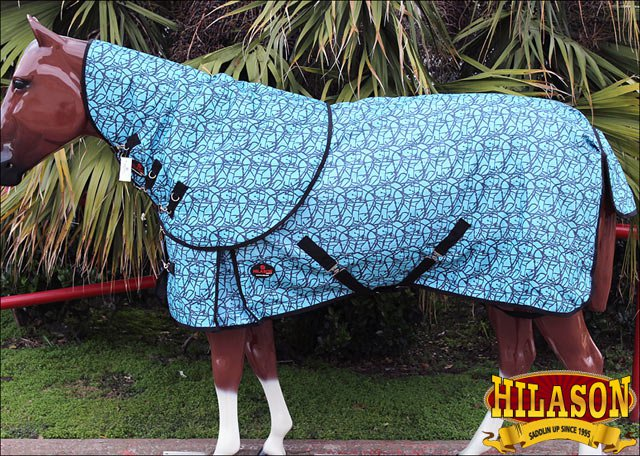 """69"""" HILASON 1200D WATERPROOF POLY TURNOUT HORSE BLANKET NECK COVER TURQUOISE"""