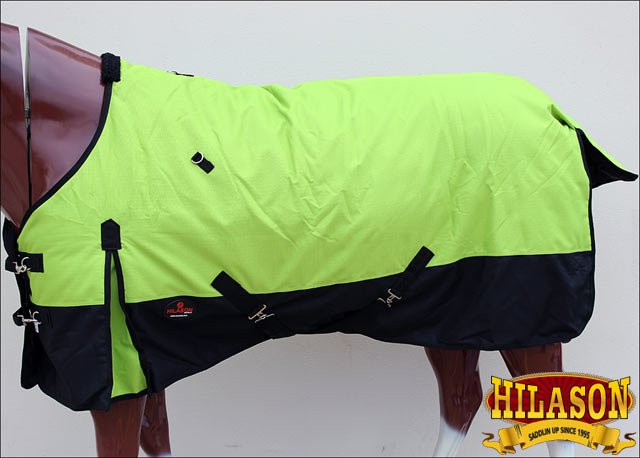 """84"""" HILASON 1200D WINTER WATERPROOF POLY TURNOUT HORSE BLANKET LIME GREEN"""