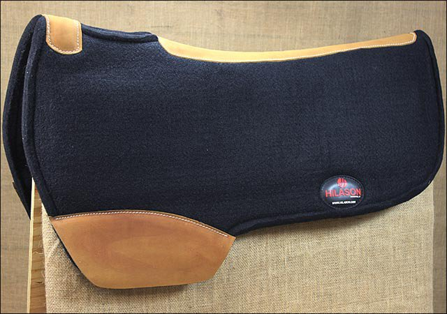 FP100F- HILASON WESTERN WOOL FELT GEL SADDLE PAD W/ DISTRESSED WEAR LEATHER