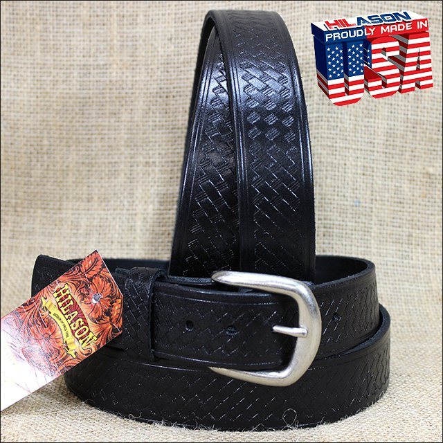 58IN. BLACK 1.5in CASUAL LEATHER BELT EMBOSSED BASKET DESIGN MADE IN USA