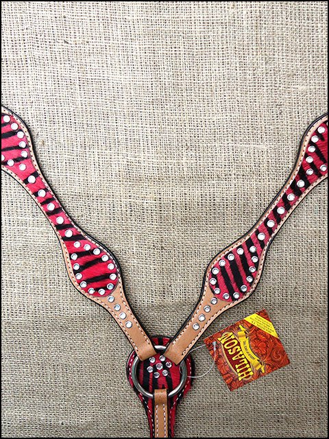 HILASON WESTERN RED ZEBRA HAIR ON LEATHER HORSE BREAST COLLAR