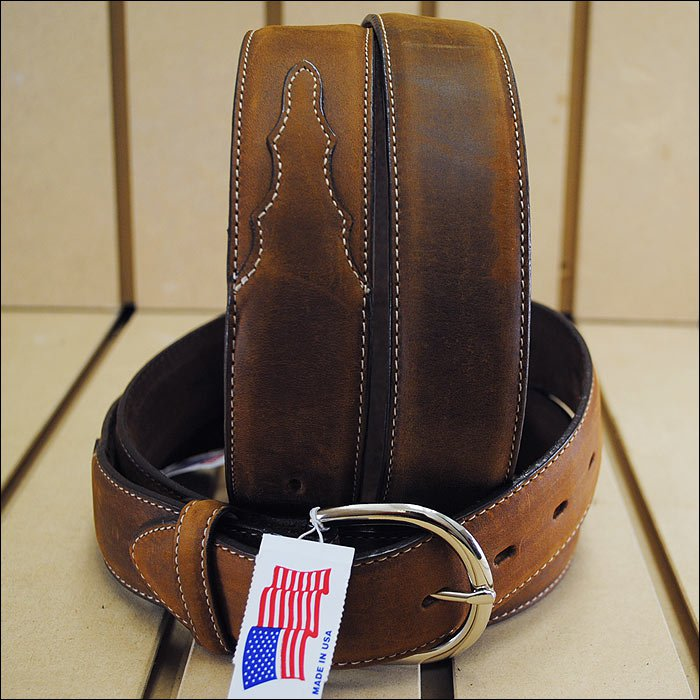 42 inch SILVER CREEK CLASSIC WESTERN LEATHER MANS BELT BROWN MADE IN THE USA