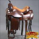 TO10ADB-F HILASON TREELESS WESTERN LEATHER TRAIL PLEASURE HORSE RIDING SADDLE 18