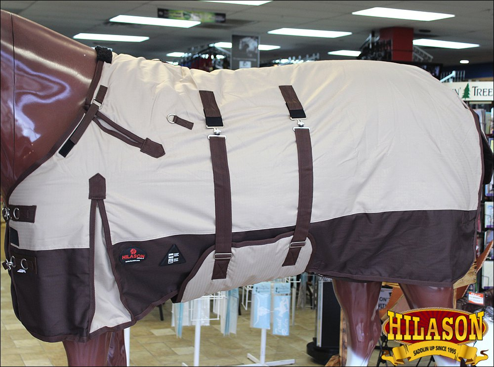 "75"" HILASON 1200D WATERPROOF TURNOUT HORSE WINTER SHEET BELLY WRAP TAN BROWN"