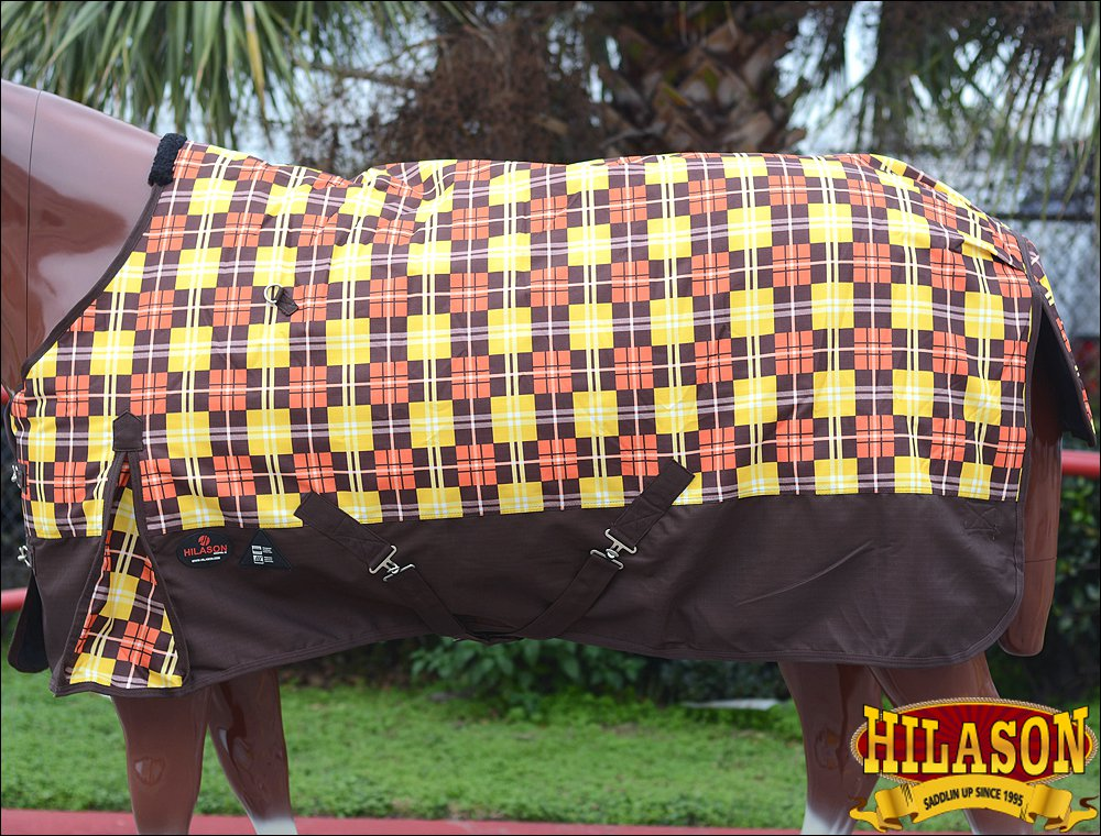 """72"""" HILASON 1200D POLY RIPSTOP WATERPROOF HORSE COLD WINTER SHEET BROWN YELLOW"""