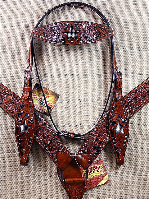 HILASON WESTERN LEATHER HORSE HEADSTALL BRIDLE BREAST COLLAR BROWN BLING CRYSTAL