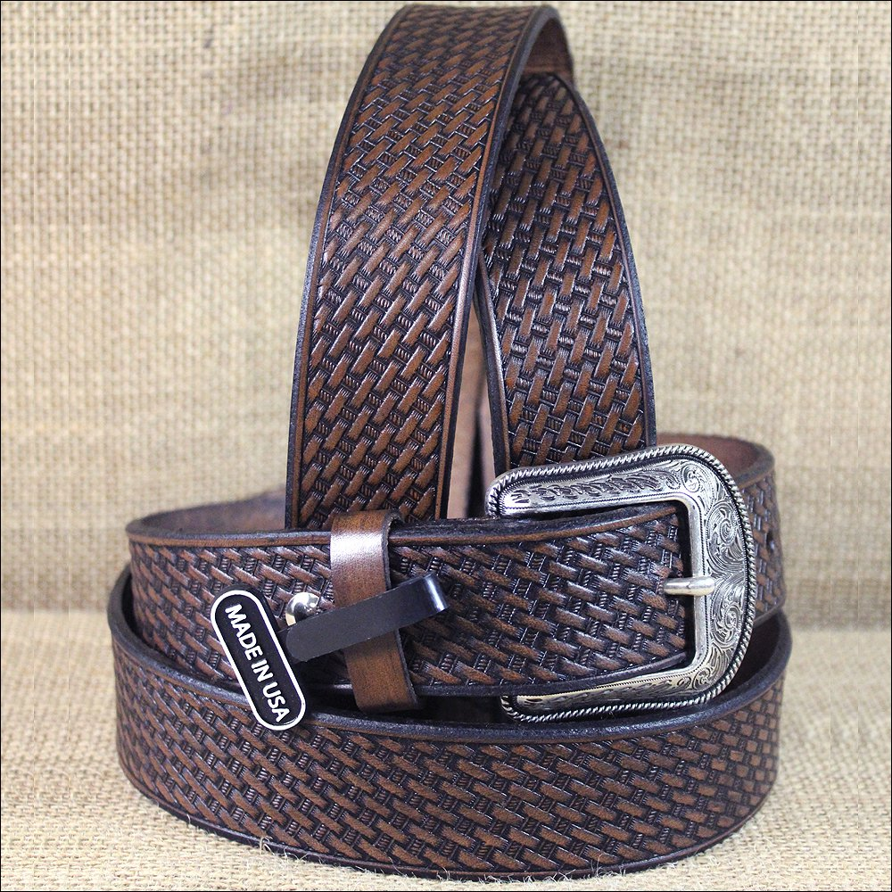 "36 X 1 1/2"" 3D DARK BROWN MENS WESTERN FASHION LEATHER BELT REMOVABLE BUCKLE"