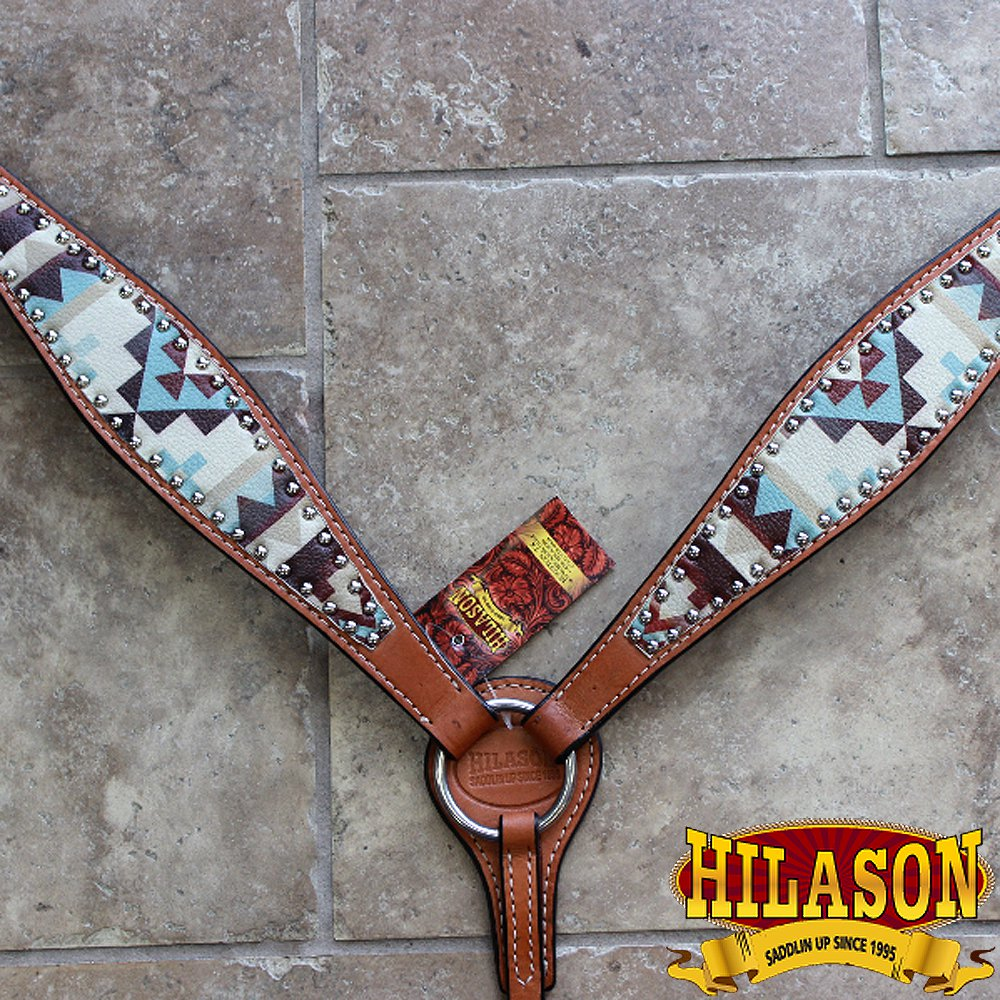 HILASON WESTERN LEATHER HORSE BREAST COLLAR AZTEC PAINTED