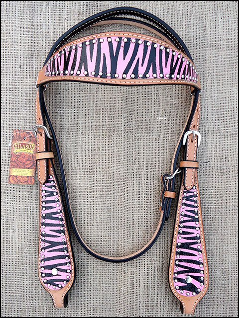 S585 NEW HILASON WESTERN LEATHER HORSE BRIDLE HEADSTALL HAND PAINT PINK ZEBRA