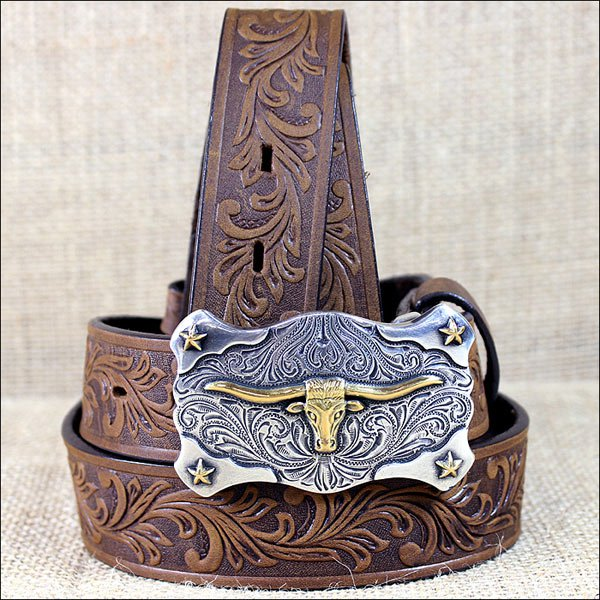 TONY LAMA BROWN BOY'S FLORAL TOOLED LEATHER LITTLE TEXAS WESTERN BELT