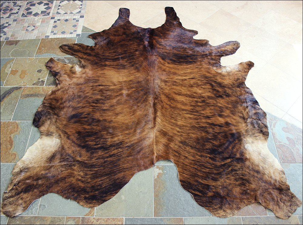 HS1101-F HILASON HAIR ON LEATHER BRAZILIAN COWHIDE SKIN RUG CARPET EXOTIC MEDIUM