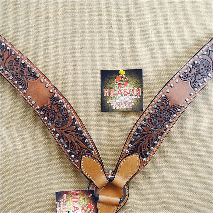 HILASON WESTERN H TOOLED LEATHER BREAST COLLAR DARK BROWN